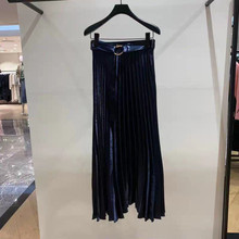 Women Shiny Blue Pleated Skirt Casual Autumn Chic High Waist Midi