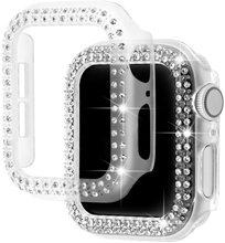 Diamentowy zderzak ochronny do Apple Watch Cover seria 6 SE 5 4 3 2 1 38MM 42MM do Iwatch 6 5 4 40mm 44mm pasek do zegarka cheap Geekthink Akrylowe CN (pochodzenie) for apple watch 5 4 3 2 1 band case APB0182 Diamond case for apple watch Diamond case for apple watch series 4
