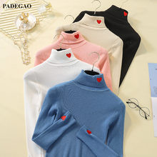 PADEGAO Turtleneck Cute Heart Embroidery Pullover Women Winter Clothes Knitted Sweater Ladies Ribbed Knit Tops Knitwear PDG251(China)