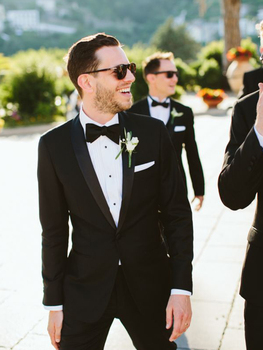 ANNIEBRITNEY 2 Piece Black Slim Fit Men Formal Suit Custom Skinny Groom Wedding Tuxedo Slim Fit Prom Wedding Men Suit With Pants