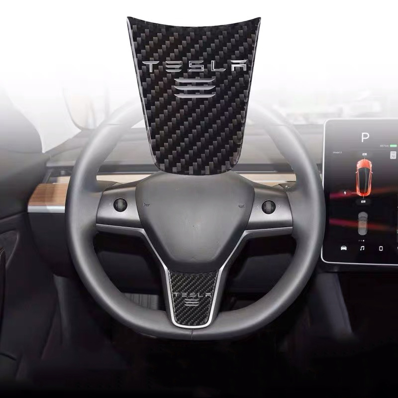 Car Styling Accessories For Tesla Model 3 S X Car Steering Wheel Carbon Fiber Interior Emblem Badge Decal Decoration Stickers