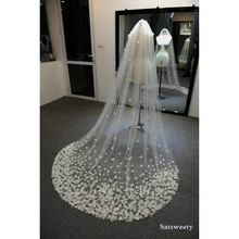 Veil Flowers Accessaries Customized Bridal Chapel for Petals Woman 3D Handmade High-End