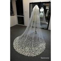 High End Veil for Bridal Customized Petals Woman Chapel Bridal Veils 3D Flowers Wedding Veil Handmade Accessaries