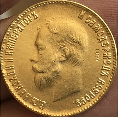 24-K Gold Plated 1898-1911 Russia 10 Roubles Gold Coin Copy