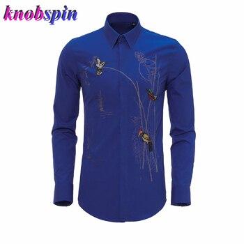 Luxury Brand Men Shirt Long sleeve Slim Social Business male dress shirts Elegant Embroidery Beading Camisas Plus size 3XL 4XL