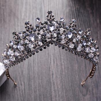 Kryształowe tiary ślubne czarne korony ślubne barokowe Rhinestone korowód Diadem pałąk dla panny młodej czarownica akcesoria do włosów biżuteria tanie i dobre opinie CN (pochodzenie) Ze stopu cynku KRYSZTAŁ Tiaras Kobiety TRENDY PLANT Hair Accessories Wedding Tiaras Bridal Hair Accessories