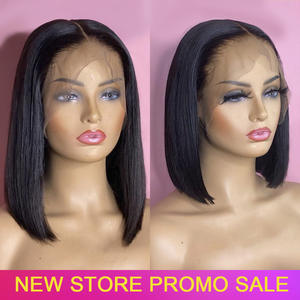 Frontal Wigs Short Human-Hair Remy-Lace Pre-Plucked Women Peruvian Straight for Bob 150-%