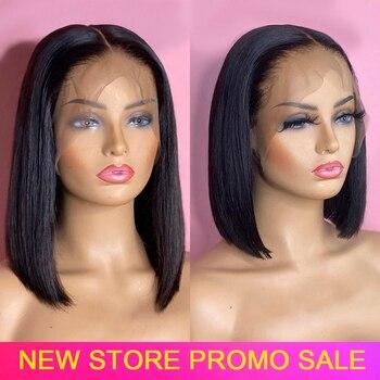 Peluca de pelo humano Bob, peluca corta de pelo humano con corte Bob, peluca recta Virgo precortada, pelucas de encaje Remy peruano 150% para mujer
