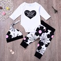 Love pattern Bodysuit+Floral Pants+Hat Newest Addition to the family Printed Toddle girls outfit 2020 Infant baby girl 3 PCS Set