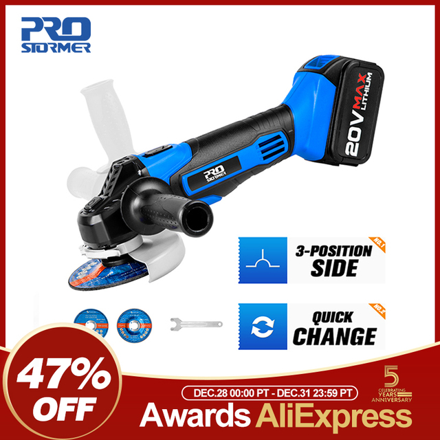 Cordless Angle Grinder 20V Lithium-Ion Battery Machine Cutting Electric Angle Grinder Power Tool By PROSTORMER