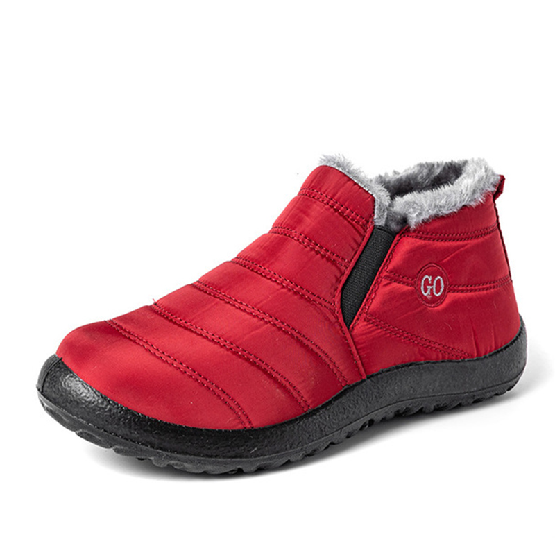 Snow Boots Women Shoes Warm Plush Fur Ankle Boots Winter Female Slip On Flat Casual Shoes Waterproof Ultralight Footwear 34