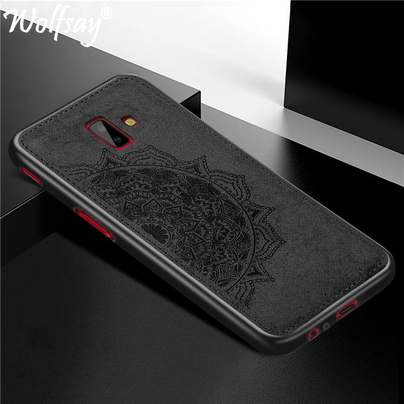 J6 Plus Case on for Samsung J6 Plus Cover sFor Coque Samsung Galaxy J6 Plus Bumper Painted 3D Embossing Matte Back Cover Wolfsay
