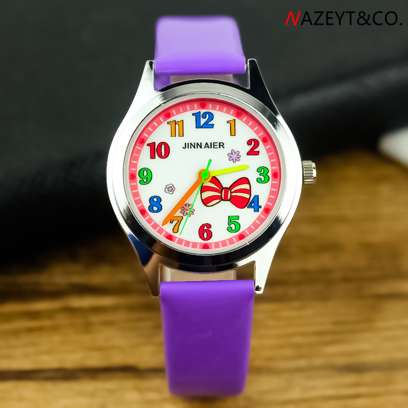 Kids Jelly Watch Lovely Girl Beauty Bow-knot Dial Cartoon Dress Watch Little Student Rosette Face PU Leather Birthday Gift Clock