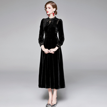 2019 New Women Velvet Dress Fashion Lady Temperament Slim Long Sleeve Autumn Winter Black with Boutonniere