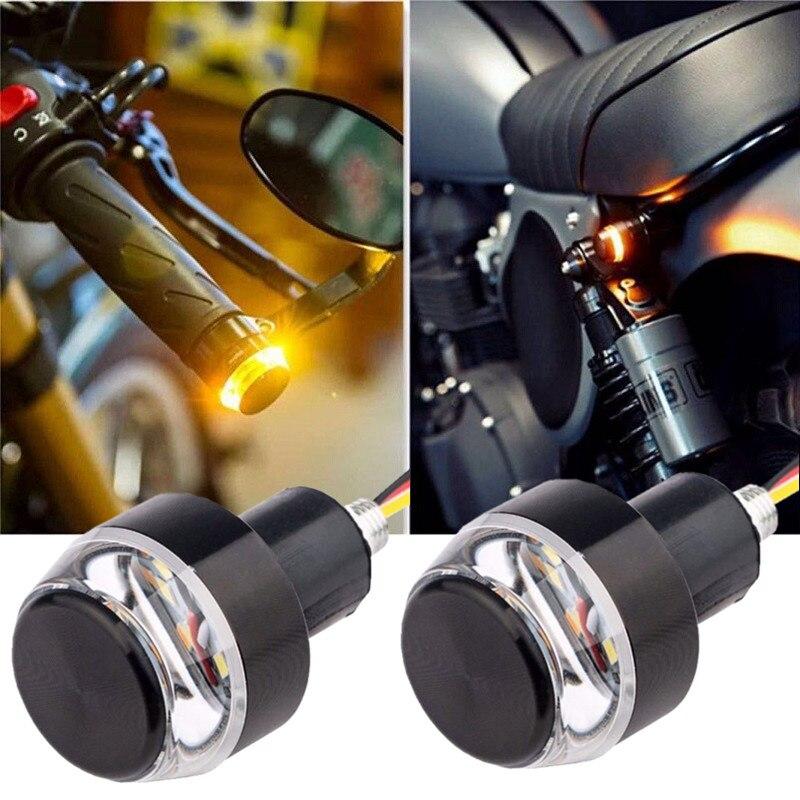 2pcs DC 12V Motorcycle LED Handlebar End Turn Signal Light White Yellow Flasher Handle Grip Bar Blinker Side Marker Lamp 1