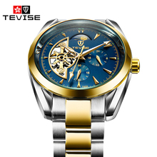 Original TEVISE Automatic Self-Wind Male Wrist Watches Skele