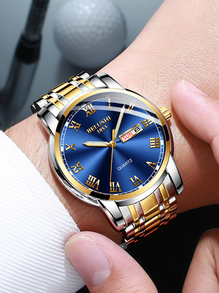 Luxury Mens Watches Calendar Business-Wristwatch Date Waterproof Top-Brand Luminous BELUSHI