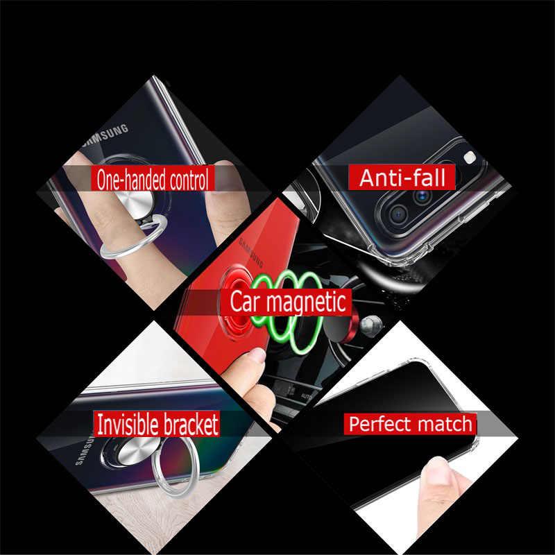 Do Samsung Galaxy A70 A50 uchwyt na palec stojak tylna pokrywa magnes przezroczyste na telefon etui na samsunga Galaxy A50 A70 Coque