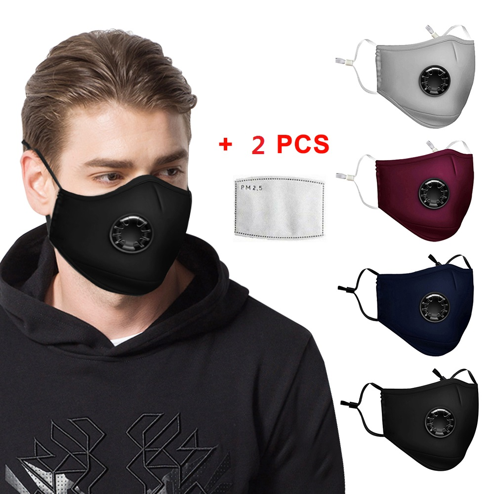 Washable Reusable Anti Air Pollution Face Mask With Respirator &2 Filters PM2.5 MASKS Kids Adult Mask Fliter PM2.5
