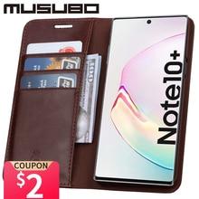 Musubo 삼성 Galaxy Note 10 용 고급 케이스 Funda Note 9 용 정품 가죽 커버 Flip Wallet S20 S10e S10 + Card Phone Coque