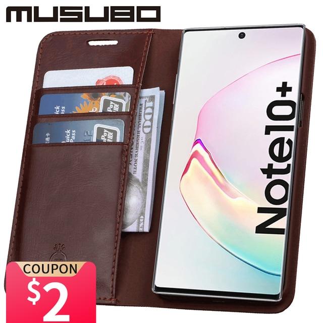 MusuboสำหรับหมายเหตุSamsung Galaxy 10หนังแท้สำหรับFundasกระเป๋าสตางค์S20 Ultra S9 S10eการ์ดโทรศัพท์Coque