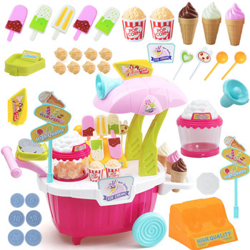 Children's simulation Pretend play house mini popcorn ice cream cart trolley set Early Education Toy girl Gift toddler walker baby boy and girl pretend play simulation shopping cart trolley wooden early education toy for kids birthday gift