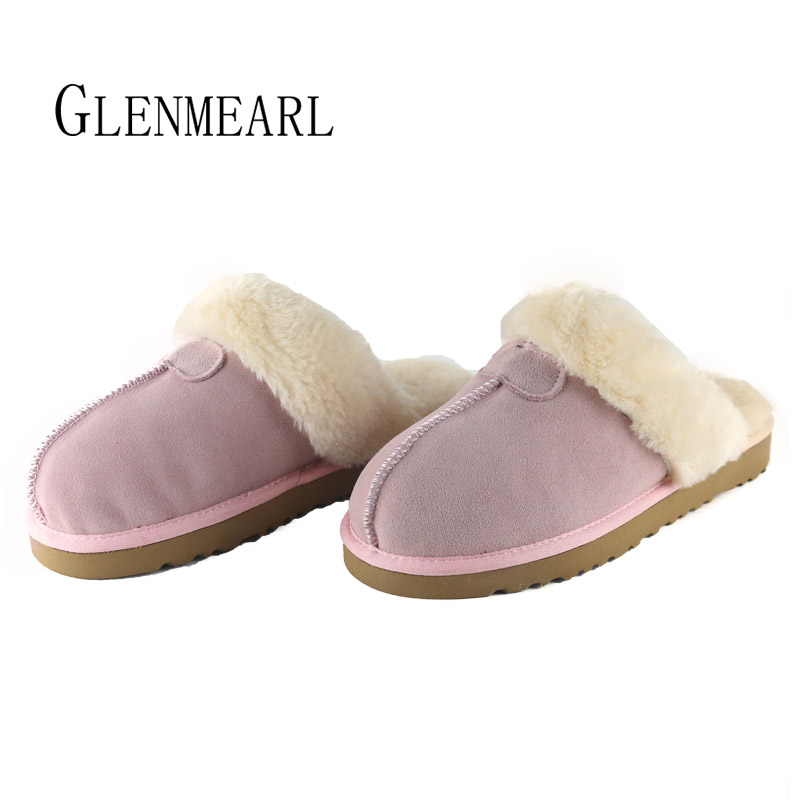 Winter Slippers Women Shoes Genuine Leather Brand Female Shoes Warm Fur Slippers Plush Women Flat Shoes Slides Casual Shoes DE