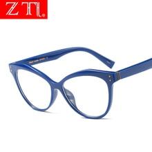 ZT Oversize Women Cat Eye Glasses Frame Fashion Nail Decoration Ladies Clear Lens UV400
