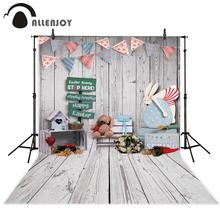 Allenjoy easter backdrop wood rabbit toy spring room decoration party photo studio background photography props photophone