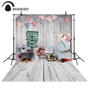 Image 1 - Allenjoy easter backdrop wood rabbit toy spring room decoration party photo studio background photography props photophone