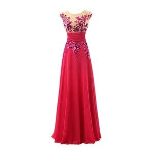 Image 3 - אורך קיר אלגנטי פורמליות ערב שמלות שיפון ארוך מפלגת שמלות עם אפליקציות נצנצים מכירה לוהטת SD159