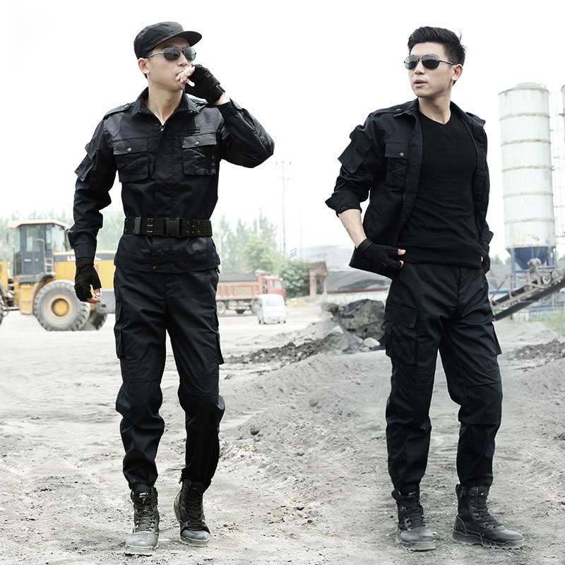 Black Military Uniforms Men Work Security Clothes Tactical Combat Shirt Cargo Pants Special Force Clothing Uniforme Militar