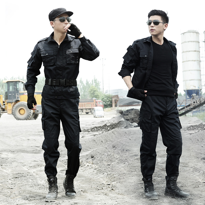 Black Military Uniforms Men Work Security Clothes Tactical Combat Shirt Cargo Pants Special Force Clothing Uniforme Militar image