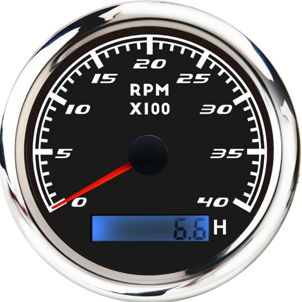 4000 RPM 85mm Marine Boat Tachometer Gauge Tacho Meter LCD Hourmeter