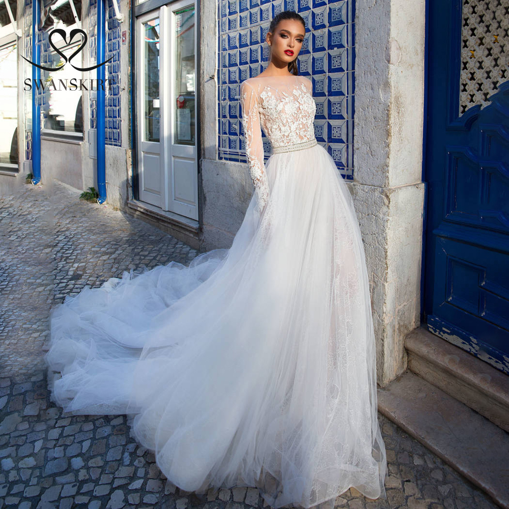 Fashion Beaded A-Line Wedding Dress 2019 Swanskirt Vintage Princess Appliques Illusion A-Line Bride Gown Robe De Mariee I199