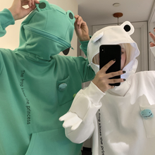 Frog Hoodie Women Cute Funny Embroidery Letter Plus Velvet Thickened Kawaii Harajuku Streetwear Christmas Oversized Hoodie