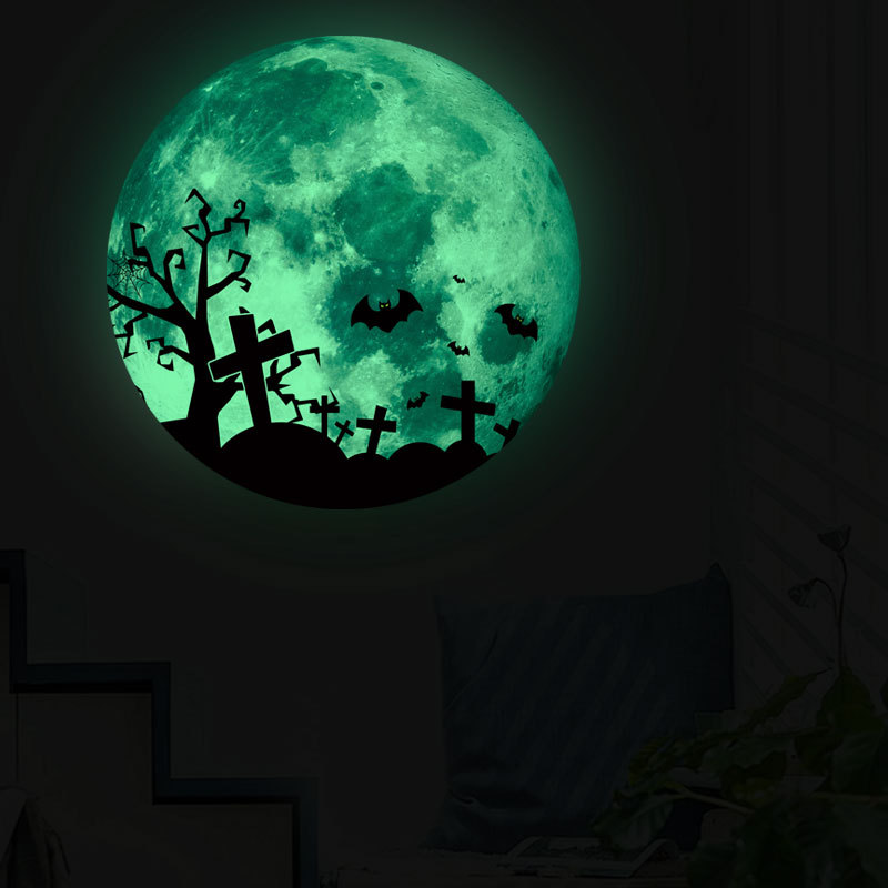 Diy Vinyl Pvc Sticker Happy Halloween New Glowing Wall Sticker Tree Moon Cemetery Bat Wall Sticker Holiday Decoration Wall Stickers Aliexpress
