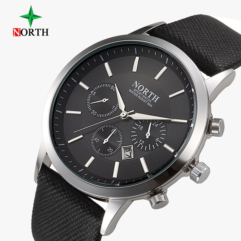 North Brand Fashion Black Men Watch Classic Casual Calendar Quartz Man Business Casual Sport Clock Unique Men's Gift Wristwatch