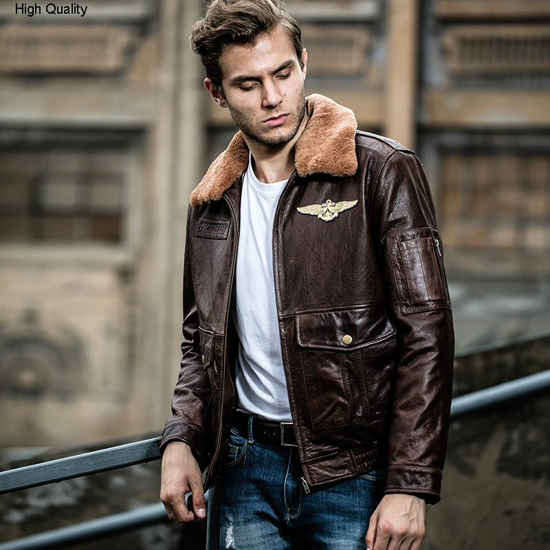 Fly Jacket Men's Genuine Leather Jacket With Fur Collar Real Cowskin Leather Bomber Jacket Men Winter Leather Coat