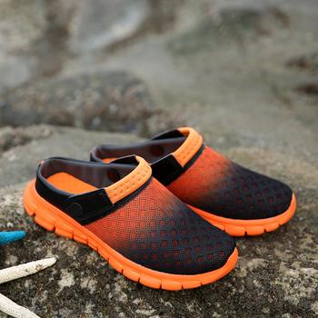 2018 mężczyźni kobiety sandały letnie siatki oddychające wyściełane plaża klapki buty stałe płaskie klapki kąpielowe tanie i dobre opinie quaoar Poza Mesh (air mesh) Mieszkanie (≤1cm) Pasuje prawda na wymiar weź swój normalny rozmiar Slajdy Platforma Lato