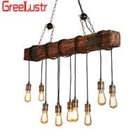 Retro Industrial Wood 10 heads Led Pendant Lamp Vintage Loft Bar Wooden Chandelier for Bar Coffee shop Light Fixtures Lustres