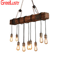 Retro Industrial Wood 10 heads Led Pendant Lamp Vintage Loft Bar Wooden Chandelier for Bar Coffee shop Light Fixtures Lustres