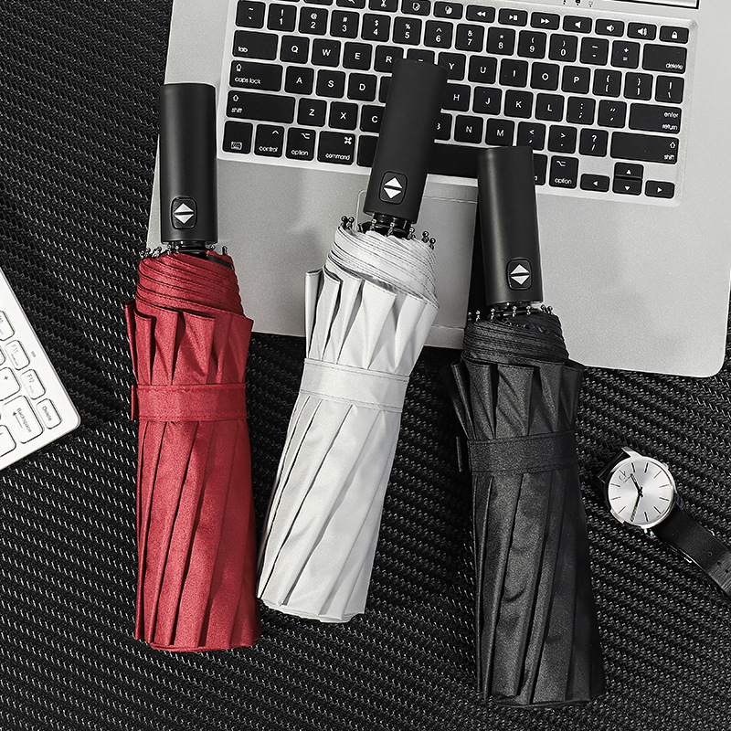 12 Bone Fully Automatic Vinyl Folding Men Business Umbrella Windproof Reinforced Rain Or Shine Dual Purpose Umbrella Advertising