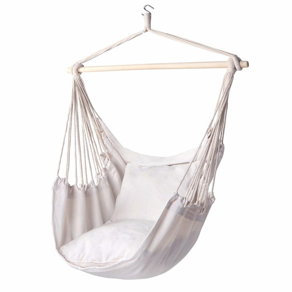 Hammock Chair Hanging Rope Swing 330 Pound Capacity, Hanging Chair With Cotton Rope For Indoor And Outdoor