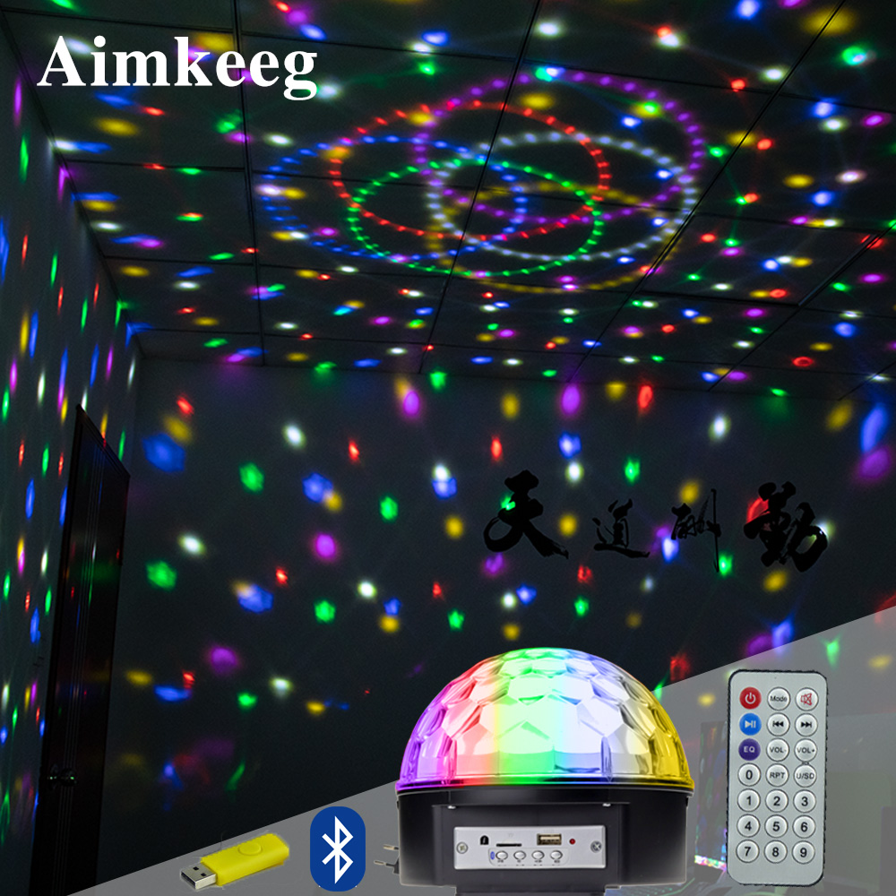 Disco Ball Light LED Bluetooth Speaker Party Light Mp3 Player Laser Projection Lamp DJ Stage Lighting Effect For Christmas Decor