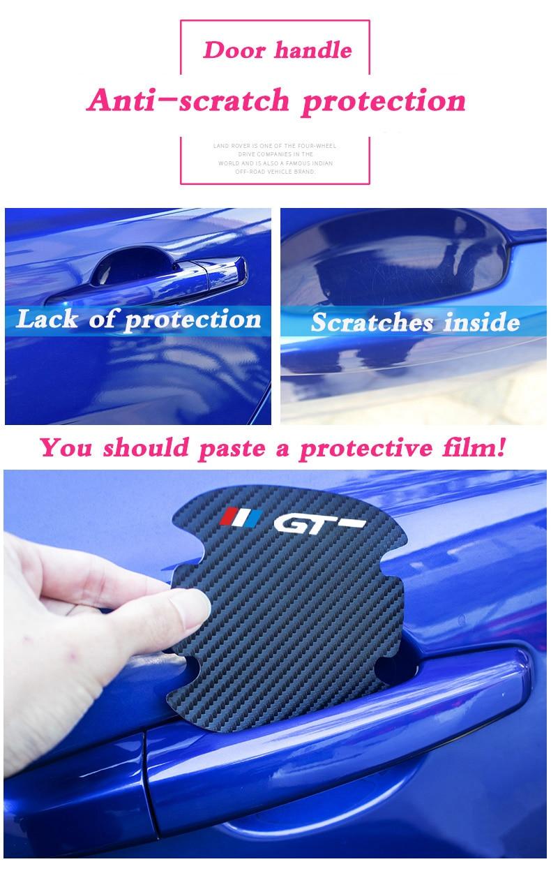 Купить 4 шт углеродное волокно автомобильная дверная ручка защита от