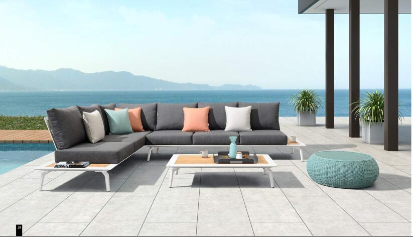 Outdoor furniture garden sofa set with water resistant and teak wood(China)