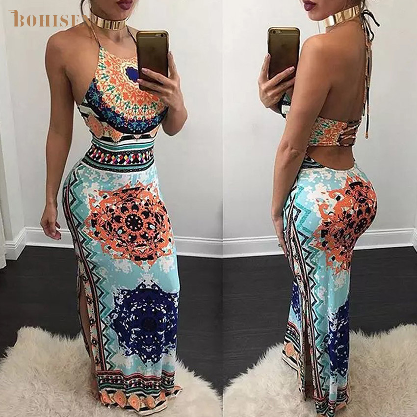 BOHISEN Dashiki African Dresses For Women Bazin Party Ladies Dress African Print Clothes For Women Sleeveless Floral Skirts