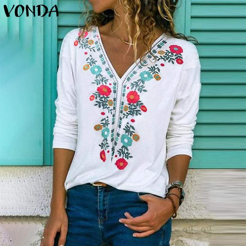 VONDA Tunic Vintage Print Shirts Women Blouse 2020 Spring Autumn Long Sleeve Blouse Casual Loose V Neck Party Tops Plus Size
