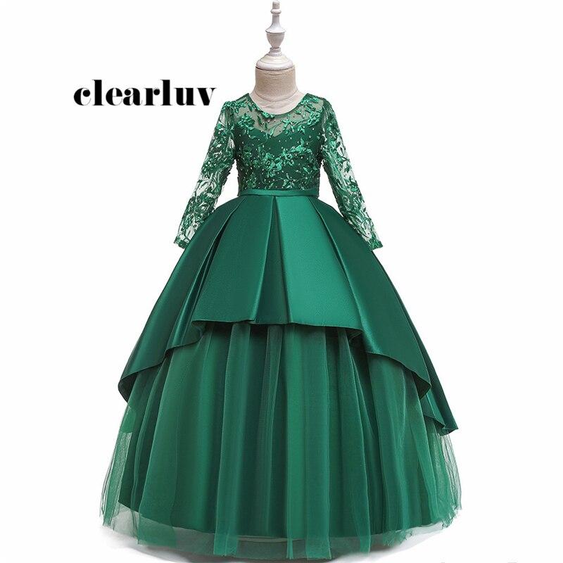 Flower Girl Dresses B089 Green Long Sleeves O-Neck Girls Ball Gown Diamond Embroidery Tulle Floor Length Kids Evening Dresses
